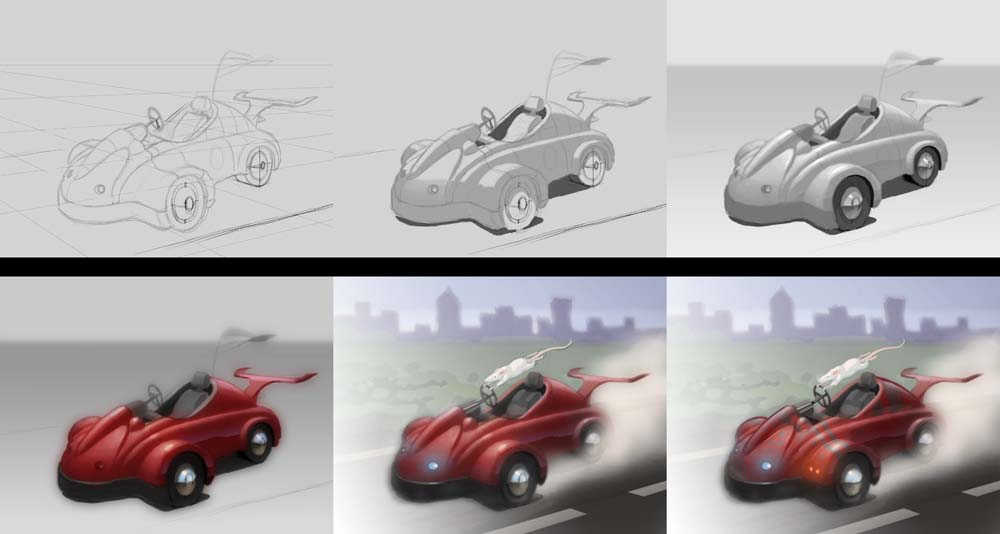 Sketch blog the rat race drawing and painting cars from for What are the steps to painting a car