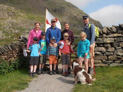 Rebecca, Eric, Finn, Louise & Arthur Russell with Sarah, ian, Theo, Lara Ciates & dog