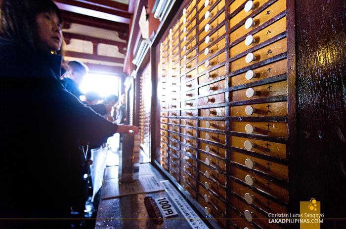Fortunes in a Box at Asakusa's Sensoji Temple
