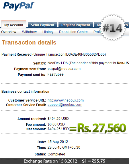 Neobux Payment Proof 14