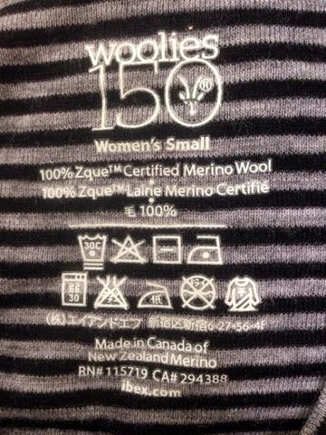 アイベックスの品質表示。100%メリノウール、メイド イン カナダ オブ ニュージーランド メリノ