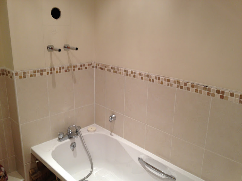 Should i remove the paint from the wall before tiling for Painting bathroom tile before and after