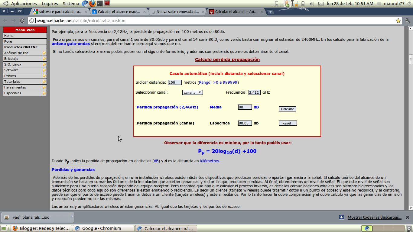 Redes y telecomunicaciones calculo de un enlace inlambrico for Calculadora de redes