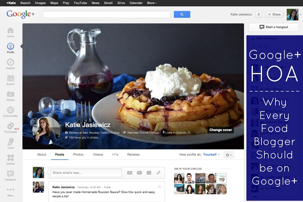 Google+ HOA -- Why Every Food Bloggers Should be on Google+ from KatiesCucina.com