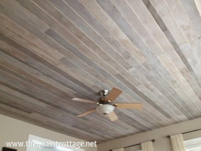 Wood plank ceiling diy