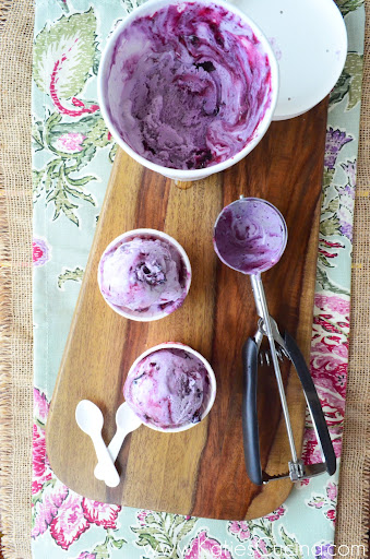 Blueberry Cheesecake Ice Cream from KatiesCucina.com #frozentreatweek #icecream