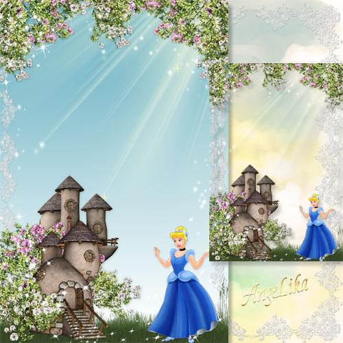 Детская рамка с принцессой - Замок среди цветов