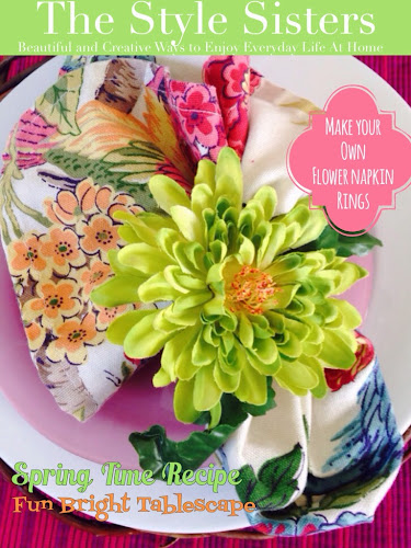 Flower napkin ring tutorial, the style sisters magazine, spring tablescape