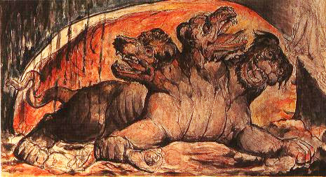 Cerberus by William Blake (1757–1827).  From Illustrations to Dante's 'Divine Comedy', Graphite, ink and watercolour on paper