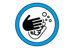 Illustration of washing hands with soap.