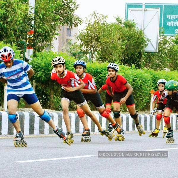 Young skaters from the Roller Skating Academy, practice in Noida.