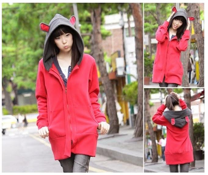 hitam, merah, bunny red grey, fleece, Hoodie, hoodie korea murah, korea, murah, warna, Pre Order, fashion korea, hoodie lucu