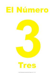 Lámina para imprimir el número tres en color Amarillo