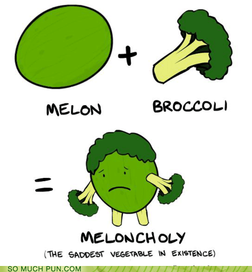 cartoon of the saddest vegetable: a melon and broccoli...meloncoli