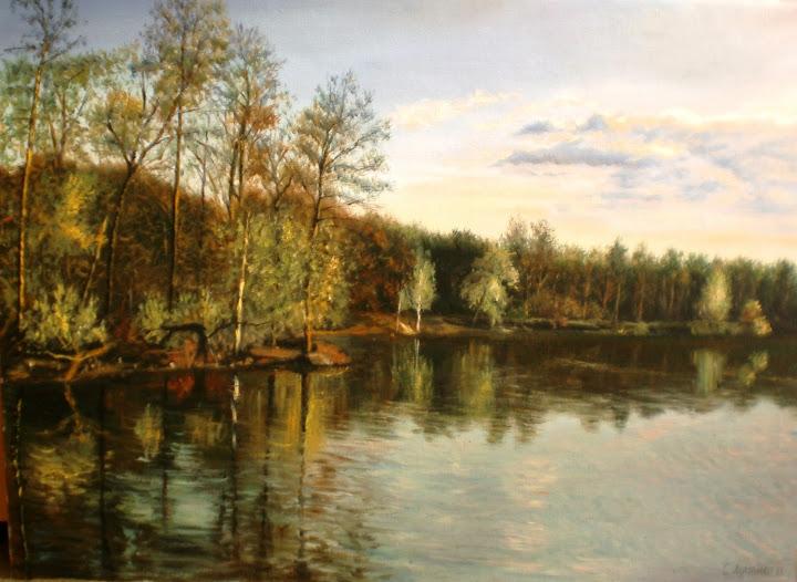 Сергей Луценко, Закат на реке, 40х55см, холст, масло