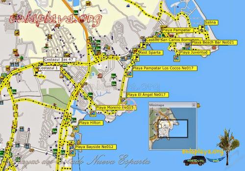 Mapa de Playas del Sector Pampatar