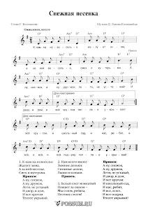"Песня ""Снежная песенка"" Д. Львова-Компанейца: ноты"