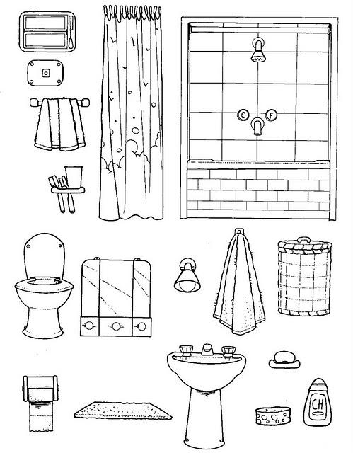 Dibujos de utensilios del ba o para colorear imagui for Utensilios cuarto de bano