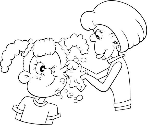 Pinto Dibujos: Mamá limpiando los oídos a su hija para colorear