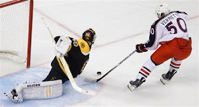 Tuukka Rask stops Antoine Vermette in the shootout to win the game for the Bruins