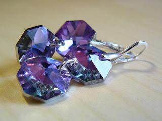 biżuteria z półfabrykatów - różowy blask (kolczyki)