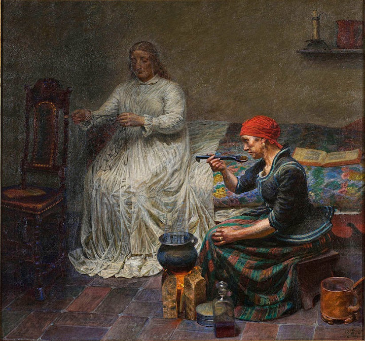 Kristian Zahrtmann - Leonora Christina in Blaataarn. The woman is cooking porridge. - Google Art Project
