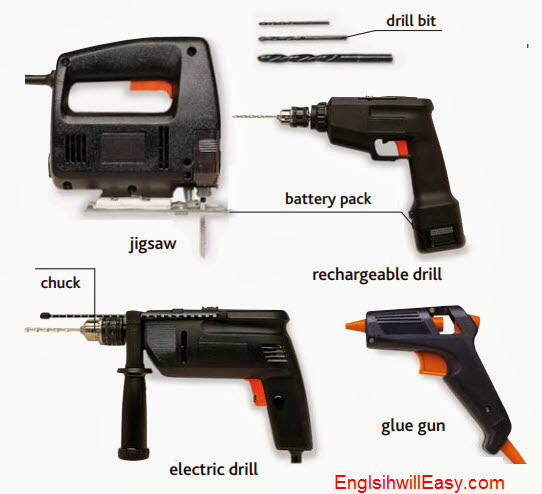 drill  Tools in Workshop, TOOLS AND HARDWARE  things english through pictures