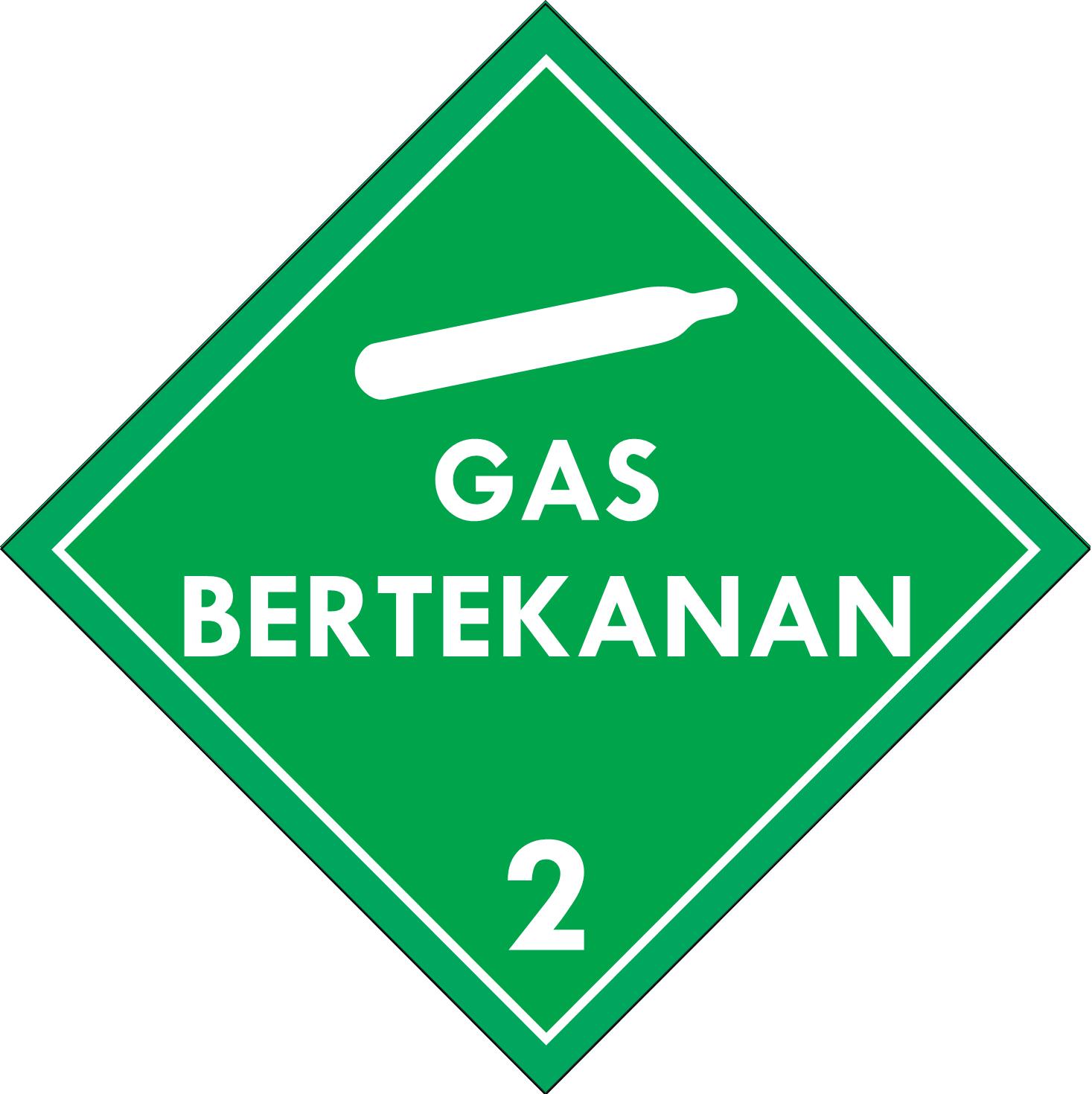 Label (Simbol) Transportasi Bahan (Material) Gas Bertekanan 2.2