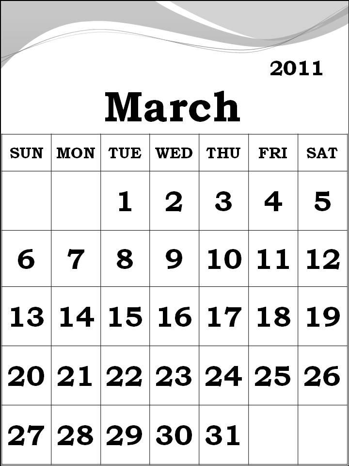 blank march 2011 printable calendar. March 2011 Calendar printable