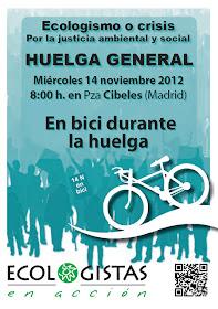 Bicipiquete de Ecologistas en Acción por la huelga general del 14N