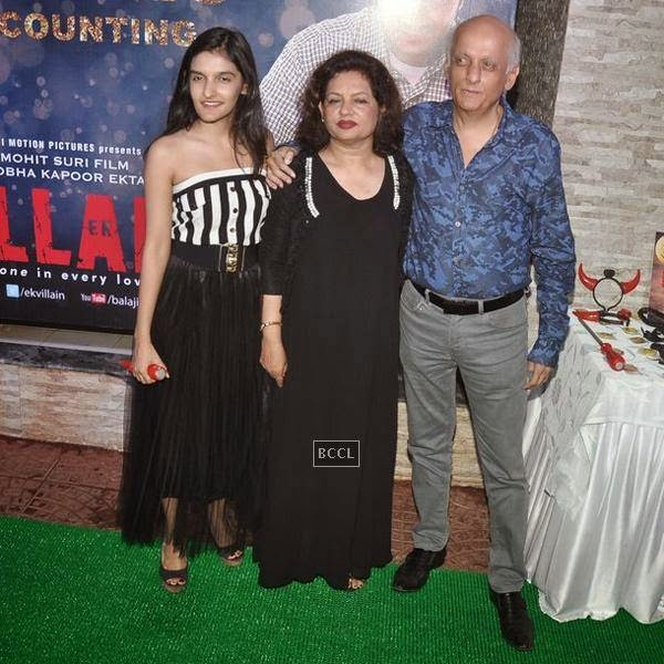 Mukesh Bhatt poses with wife Nilima Bhatt daughter Sakshi Bhatt during the success party of Bollywood movie 'Ek Villain', held at Ekta Kapoor's residence on July 15, 2014.(Pic: Viral Bhayani)