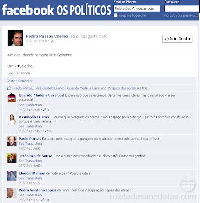 Passos Coelho decide remodelar o Governo - Facebook Privado Os Políticos