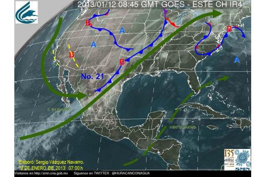 Mapa meteorológico de México para el 12 de enero de 2013