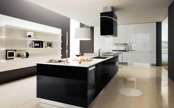 Dise o de hermosa cocina en blanco y negro decoracio - Diseno de cocinas online ...