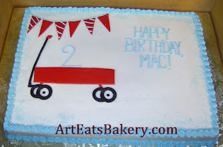 Boy's custom butter cream 2nd birthday cake with red wagon