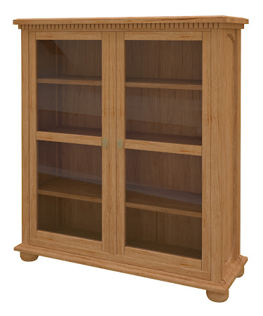 Valencia Glass Door Bookshelf in Calhoun Maple