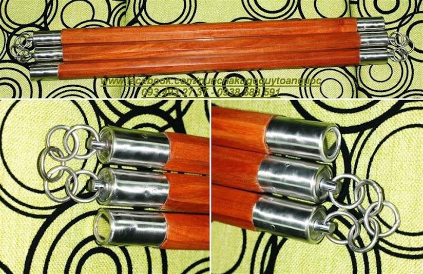 Bán Côn Nhị Khúc INOX Gỗ Quý Mun Trắc - nunchaku - nhikhuccon - 093.493.27.37 - 9