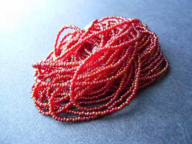 Rainbow Ruby Red Czech Seed Beads