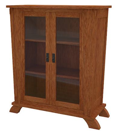 Baroque Glass Door Bookshelf in Washington Quarter Sawn Oak