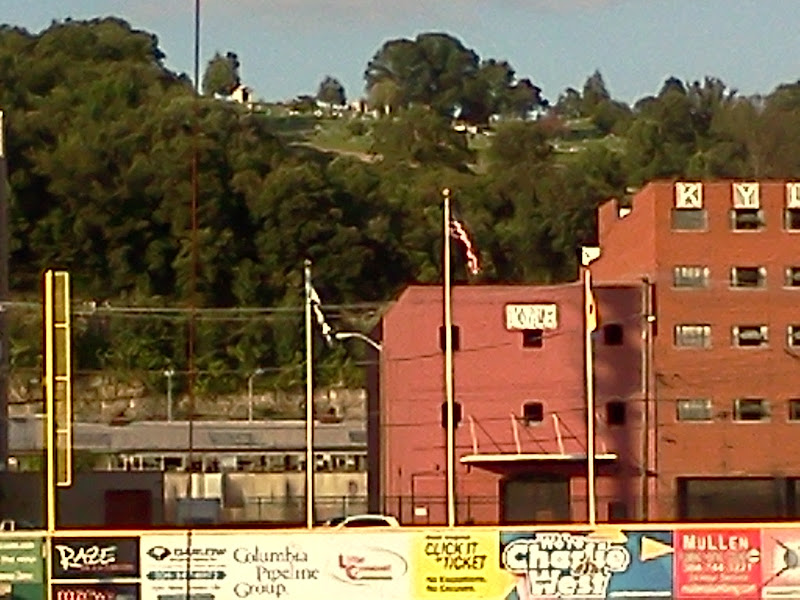 Appalachian Power Park, left field with cemetery in background