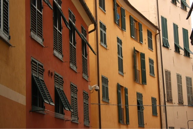 Coloured buildings in Genoa, Italy