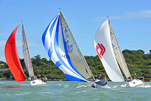 J/109s sailing on a reach at Cowes Week