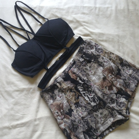 DragonBerry Cutout Crop Top & Cat Tapastry Shorts