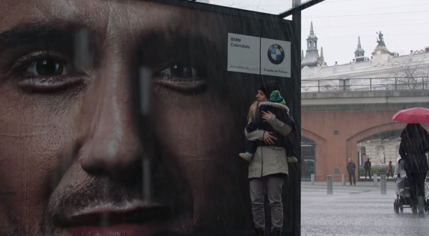 "The ""Crying Billboard"" for BMW in Germany created by Jung von Matt"