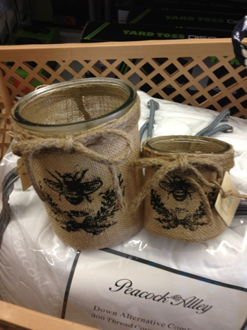 french country burlap bee candles
