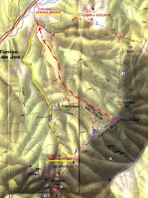 fragment harta Piatra Mare: Dambu Morii-Cabana Piatra Mare - Pestera de Gheata-Sirul Stancilor