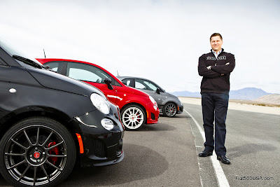 Tim Kuniskis with the new Fiat 500 Abarth