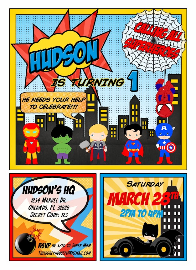 Superhero Invite by This Grey House