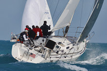 J/105 sailing upwind at Key West Race Week
