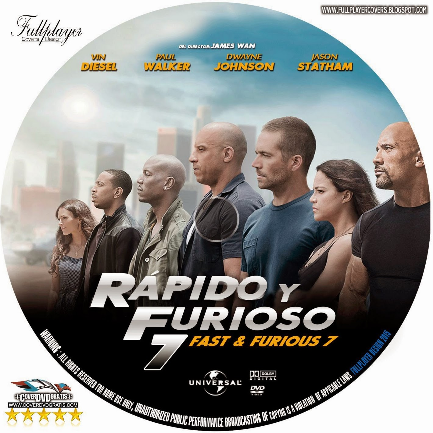 fast furious 7 2015 dvd cover coverdvdgratis. Black Bedroom Furniture Sets. Home Design Ideas